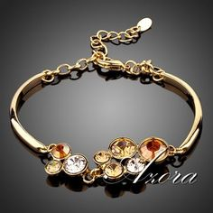 Sparkling! 18K Real Gold Plated Round SWA ELEMENTS Austrian Crystal Water Drop Bracelet FREE SHIPPING!(Azora TS0012)
