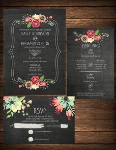 Invitación de boda DIY pizarra para por KristianRatnamDesign