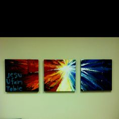 "A rendition of the Divine Mercy Aaron painted for my office. Jesu ufam tobe is polish for ""Jesus, I trust in You."""