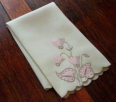 Em's Heart Antique Linens -Vintage Linen Marghab Embroidered Towel