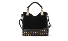 Fashion Women's Tote Bag With Rivets and Chains Design