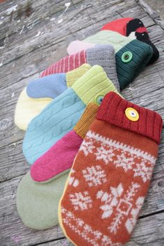 Northland Woolens repurposes old sweaters and buttons to make the most charming mittens.