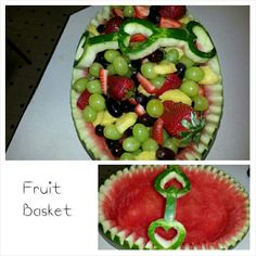 Heart Handle Fruit Basket, Valentine fruit basket, Fruit catering, Fruit arrangements, Diy fruit ideas