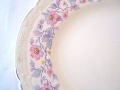 Salem China New Yorker Platter with Pink and Purple Flowers Vintage 1930s LOVELY