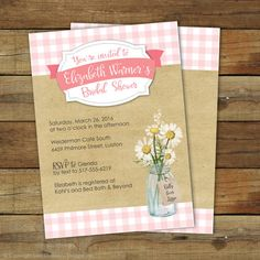 Picnic Bridal Shower Invitation Pink Gingham by saralukecreative