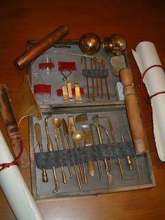 Replica roman surgical tools.