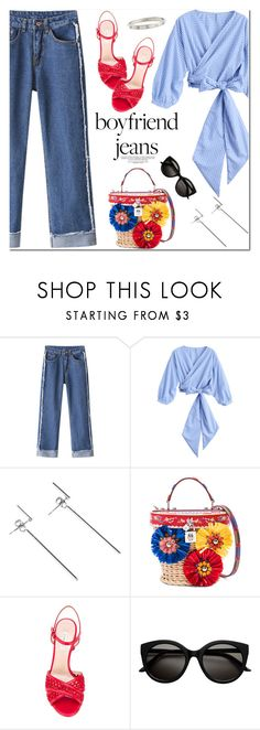 """""""Boyfriend Jeans"""" by oshint ❤ liked on Polyvore featuring Dolce&Gabbana, Casadei and Cartier"""