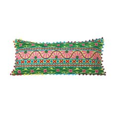 Beautiful embroidery in bold colors and patterns lights up the fabric of this fun, daring pillow. Down to its multicolored pompom trim, it's a perfect boho-glam addition to an eclectic armchair, bed, o...  Find the Bohemian Spring Throw Pillow, as seen in the Free Shipping Day: Decor Collection at http://dotandbo.com/collections/free-shipping-day-decor?utm_source=pinterest&utm_medium=organic&db_sku=CBK0158