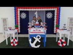 FIESTA DE MARINERO ANCLAS|PARTY|FIESTAS INFANTILES|DECORACION|BOY|MESA DE DULCES|2017|ADORNOS - YouTube Anchor Birthday, Sailor Birthday, Baby 1st Birthday, Birthday Ideas, Nautical Party, Holidays And Events, Birthday Decorations, Baby Boy Shower, Sailor Party