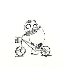 【一日一大熊猫】2015.9.14 通勤カスタムのロードバイクに サイドスタンドを装着したのだけど 左足のかかとが当たってしまい 意識してこいだら膝が痛くなったよ。 失敗。 #パンダ #自転車 #イラスト http://osaru-panda.jimdo.com