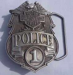 "Harley-Davidson POLICE ORIGINAL OLD BADGE BELT BUCKLE 2"" x 2.75"" NEW"