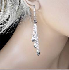 Swarovski Crystal Bridal Earrings Silver by PixieDustFineries, $31.00