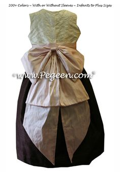 Custom  Flower Girl Dresses in pink and chocolate brown with Pearls