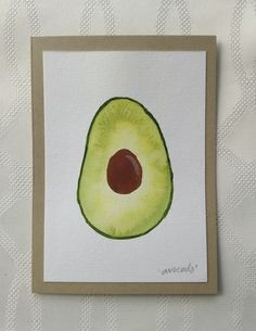 Hand Painted Watercolor Avocado Greeting Card, one of a kind by thebeeandbug on Etsy