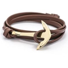 Europe type style leather anchor bracelet found on Polyvore featuring women's fashion, jewelry, bracelets, leather bangles, anchor jewelry and leather jewelry