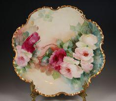 "Beautiful Vintage Bavaria Rose Plate Gold Trim 10"" Painted Plates, Hand Painted, Fine Porcelain, Painted Porcelain, Antique China, Vintage Roses, Fine China, Bavaria, Vases"