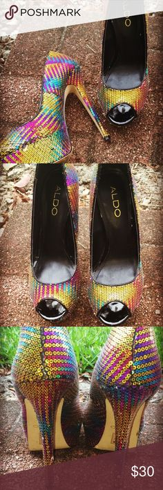 Multicolored sequined heels ALDOs Multicolored sequined heels....one of my favorite heels. It will be the center of attention always! ALDO Shoes Heels
