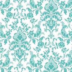 Tiffany Blue Damask Cotton Jersey Blend Knit Fabric $6.10