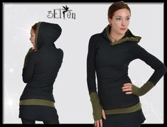 hoodie black with green gauntlets Elf, Black Hoodie, Turtle Neck, Shirts, Hoodies, Sweaters, Fashion, Wrist Warmers, Hoodie