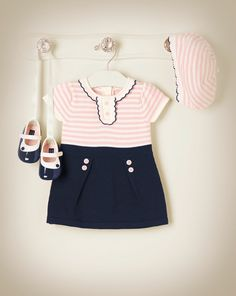 Sweet and chic in the softest sweater dress with matching stripe beret.