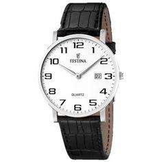 Festina Classic F16476-1 Junghans, Stainless Steel Case, Chronograph, Bracelets, Watches For Men, Black Leather, Quartz, Classic, Stuff To Buy
