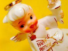 Happy Birthday! Holt Howard Girl Vintage Figurine Candle Holders Rare Sale Cute | eBay