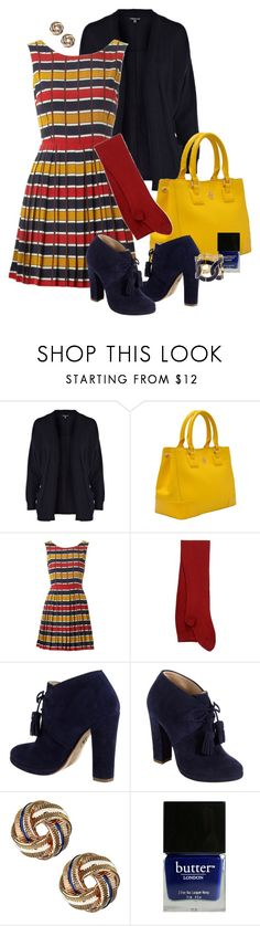 """""""Striped Dress"""" by tajarl ❤ liked on Polyvore featuring Warehouse, Tory Burch, Louche, Sternlein, Cole Haan, Wallis and Butter London"""