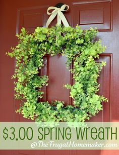 $3.00 Spring Green wreath + a fun invitation - The Frugal Homemaker | The Frugal Homemaker