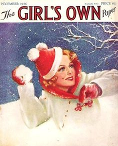 The charming snowball fight themed December 1936 cover of Girl's Own