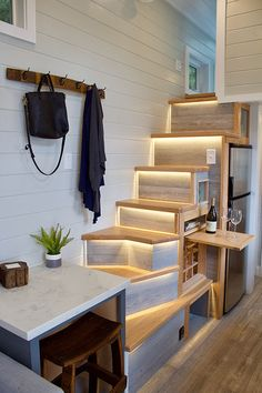 The Tiny Replica Home: a beautiful, cozy custom tiny house on wheels from Tiny Heirloom. The Tiny Replica Home: a beautiful, cozy custom tiny house on wheels from Tiny Heirloom. Tiny Beach House, Tiny House Stairs, Best Tiny House, Tiny House Bathroom, Tiny House Living, Tiny House Plans, Small Living, Bathroom Pink, Tiny House Loft