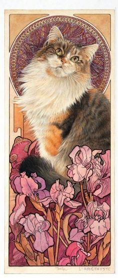 """❧ art and cats ❧ Lesley Anne Ivory - """"Agneatha - L'Améthyste, in Alphonse Mucha jewel panel"""", 2000 Alphonse Mucha, I Love Cats, Crazy Cats, Cool Cats, Memes Arte, Illustrator, Image Chat, Gatos Cats, Photo Chat"""