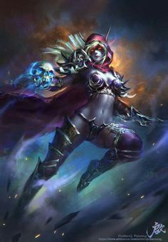 Sylvanas Windrunner (World of Warcraft) drawn by Qichao Wang Fantasy Women, Dark Fantasy Art, Fantasy Girl, Fantasy Artwork, Art Warcraft, World Of Warcraft Wallpaper, Sylvanas Windrunner, Elfa, Heroes Of The Storm