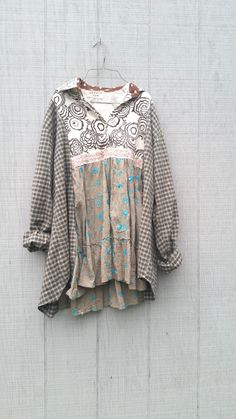 upcyled floral check funky tunic dress ladies women by CreoleSha