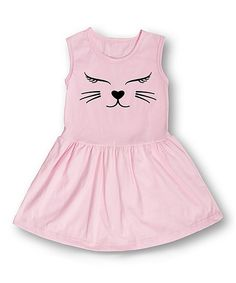 Loving this Light Pink Cat Face Fit & Flare Dress - Toddler & Girls on #zulily! #zulilyfinds