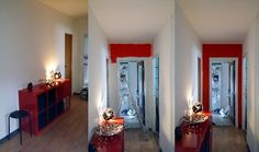 Wall before and after red paint!