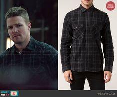 Oliver's black plaid shirt on Arrow.  Outfit Details: http://wornontv.net/47626/ #Arrow