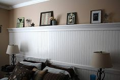 Beadboard wall with shelf