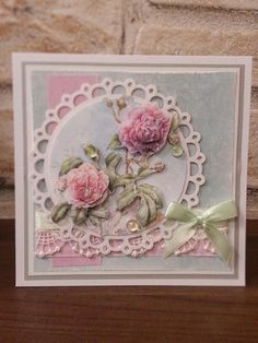 Flower from Janneke 3d Cards, Paper Cards, Shabby Chic Cards, Die Cut Cards, Picture Cards, Pretty Cards, Card Designs, Flower Cards, Homemade Cards