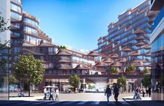 3XN Reveals Waving Mixed-Use Building Located Adjacent to Sidewalk Labs' Future Smart City,A pedestrian passage is planned opposite the end of Edgewater Drive. Image © 3XN
