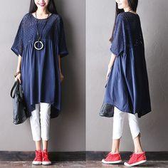 Women summer hollow loose pullover cotton linen dress