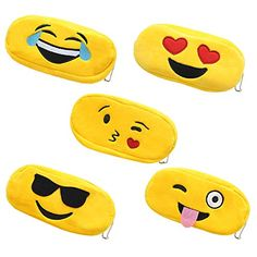 """Color:Yellow Size: 7.5″×3.6″×1 """" Made of high quality soft plush fabric Protect your school supplies, office supplies and more inside this sturdy fabric covered case. It's a cool pencil box for boys or girls of all ages! Set of 5 different style Emoji pen pencil cosmetic travel makeup purse coin zipper bag pouch – cute …"""