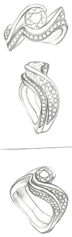 Mark Schneider Design - Ultimate engagement ring sketch with wedding band