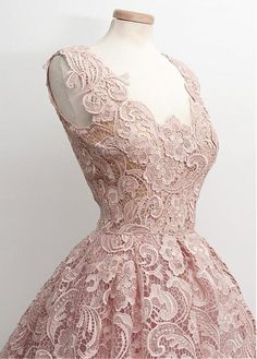 Lovely Lace Scoop Neckline A-line Homecoming Dresses