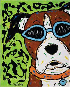 Boxer Dog Art Print In Blue Sunglasses by AngelaAlexanderArt