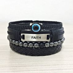 Kit 4 Pulseiras Masculinas Couro Hematita Olho Grego Faith mens bracelets fashion style cocar brasil