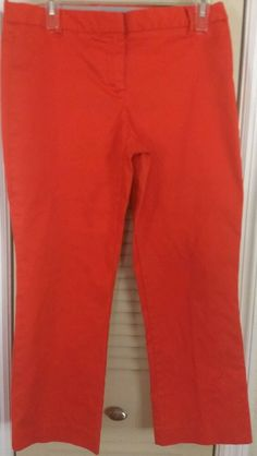 Marks /& Spencer Pale Orange Chino Trousers Pure Cotton Mid Rise Ladies