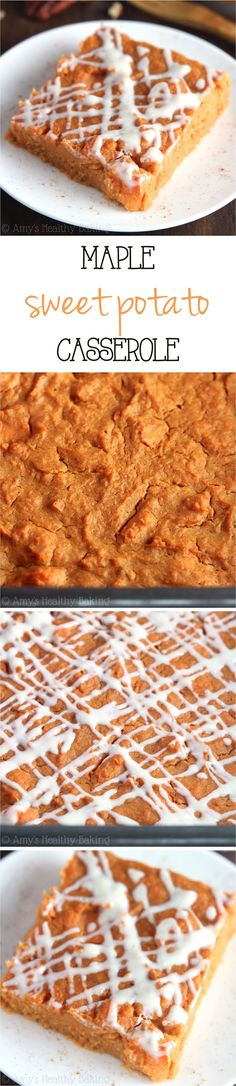 Clean-Eating Maple Sweet Potato Casserole -- this healthy casserole is so easy to make! It practically tastes like pumpkin pie!