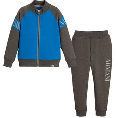 ARMANI JUNIOR Boys Grey Tracksuit with Blue Trim