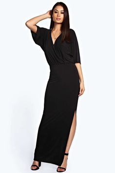 Perfect drop, slit on left; $15 Eliza Wrap Front Batwing Maxi Dress alternative image