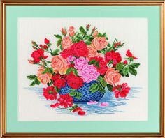 Rozen in blauwe schaal (roses in bue bowl)